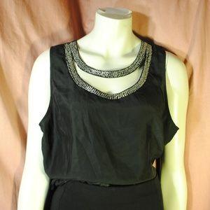 Tops - Black Silk Beaded Cutout Choker Top Blouse